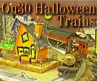 Click to see On30 trains and railroad accessories that are perfect for Halloween villages.
