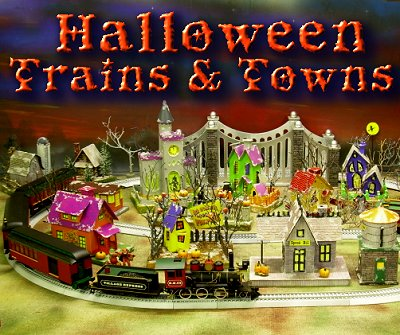 Every item of this Halloween village was made by putz designer Howard Lamey, and we have instructions for making most of the pieces on our Primer page.  The train is the original Dept. 56 On30 train, long since discontinued, but the ancestor of many other great On30 trains we've had the privilege of reviewing.