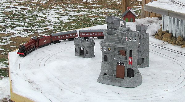 Lionel's G gauge battery-powered Hogwarts Express on an outdoor display in November, 2019.  Click for bigger photo.