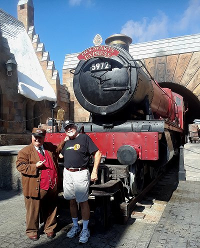 This Hall locomotive has been cleaned up, repainted, and put on static display in Universal Studios Orlando's Hogsmeade village. Click for bigger photo.