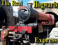Click to learn about the very real UK trains repurposed to represent the Hogwarts Express in the Harry Potter movies and Universal theme parks, along with modeling suggestions.